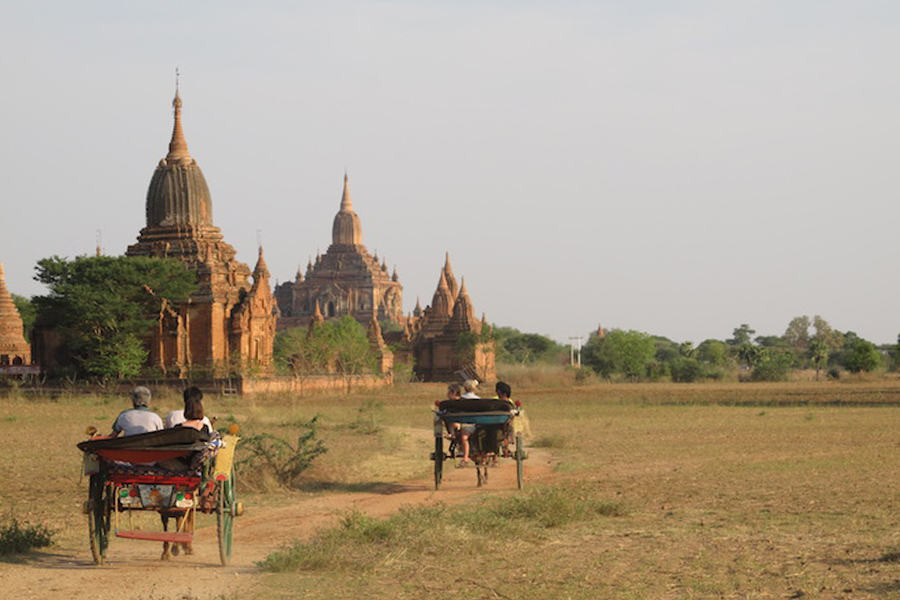 Horse-drawn carriages in Bagan, Myanmar