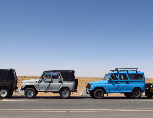 Empty Jeeps waiting to enter China and fill up on goods