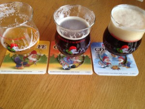 A Belgian beer tasting tray of different Achouffe brews