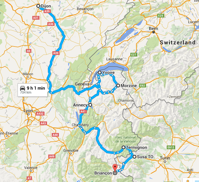 Alps itinerary route map